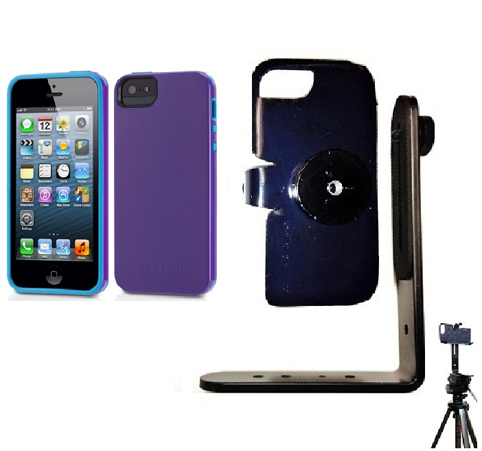 SlipGrip Tripod Mount For Apple iPhone 5 & 5S Using Tech21 Impact Trio Case