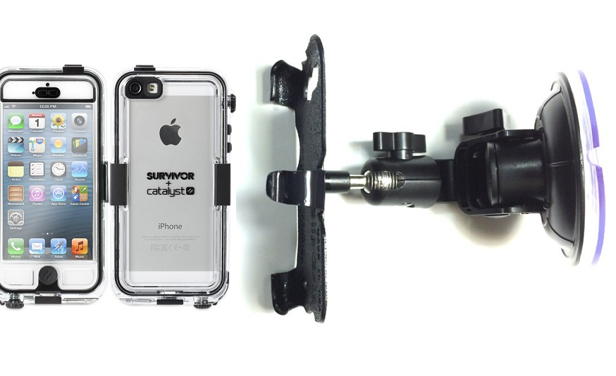 SlipGrip Car Holder For Apple iPhone 5 & 5S Using Griffin Survivor Catalyst Waterproof Case DT