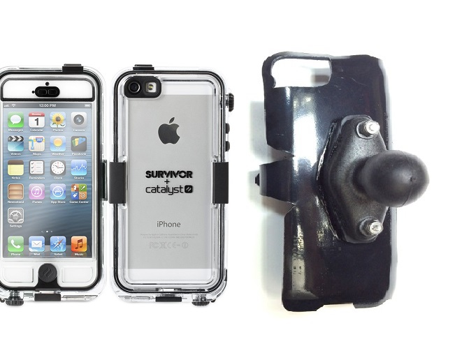 SlipGrip RAM Holder For Apple iPhone 5 & 5S Using Griffin Survivor Catalyst Waterproof Case