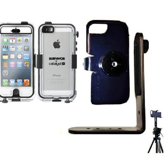 SlipGrip Tripod Mount For Apple iPhone 5 & 5S Using Griffin Survivor Catalyst Waterproof Case