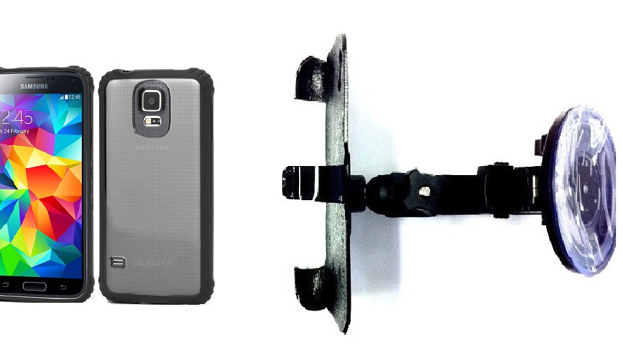 SlipGrip Car Holder For Samsung Galaxy S5 i9600 Using Griffin Survivor Clear Case HV