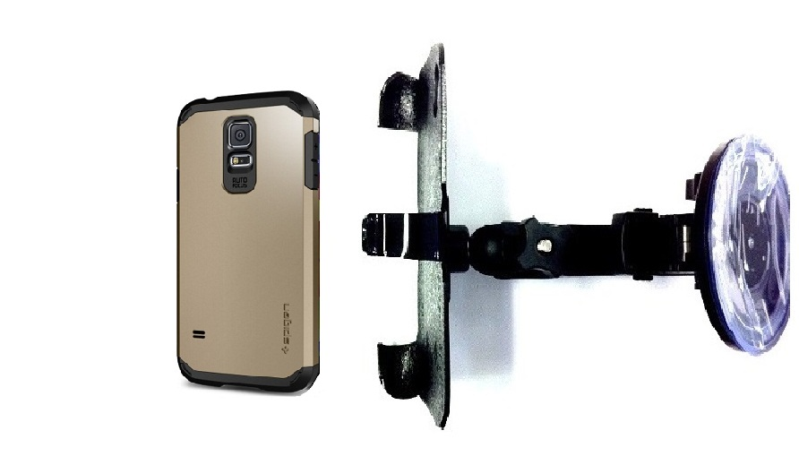 SlipGrip Car Holder For Samsung Galaxy S5 i9600 Using Spigen Tough Armor Case HV