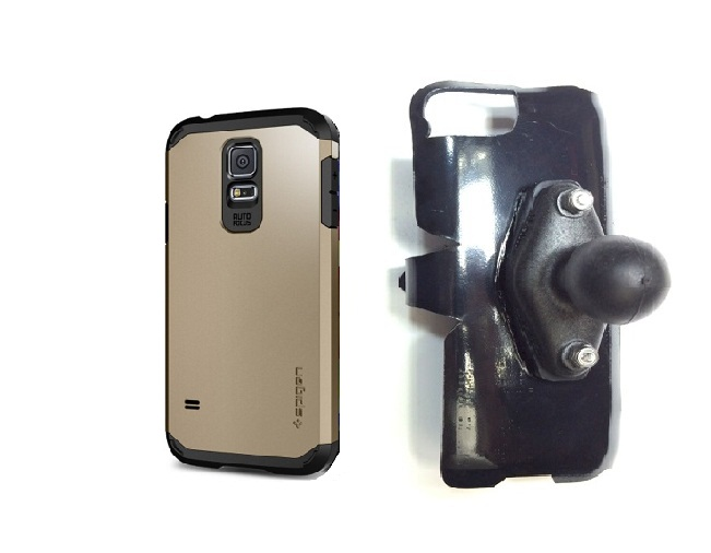 SlipGrip RAM Holder For Samsung Galaxy S5 i9600 Using Spigen Tough Armor Case