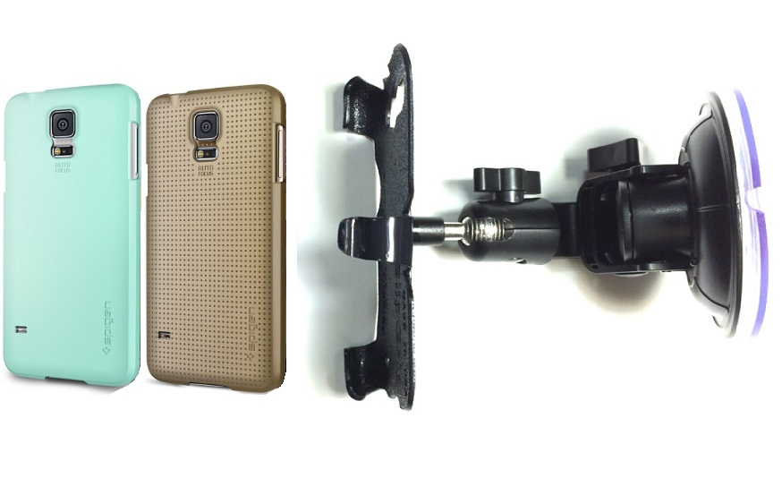 SlipGrip Car Holder For Samsung Galaxy S5 i9600 Using Spigen Ultra Fit Case DT