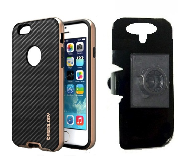 SlipGrip 17MM Holder For Apple iPhone 8 Plus Using ology Leather Black TPU Bumper Frame Case