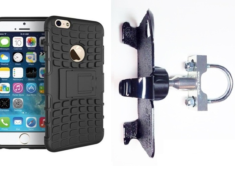 SlipGrip U-Bolt Bike Holder For Apple iPhone 8 Plus Using Dual Layer Heavy Duty K.S. Case