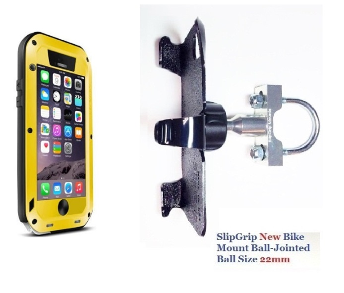 SlipGrip U-Bolt Bike Holder For Apple iPhone 8 Plus Using LOVE MEI Powerful Case