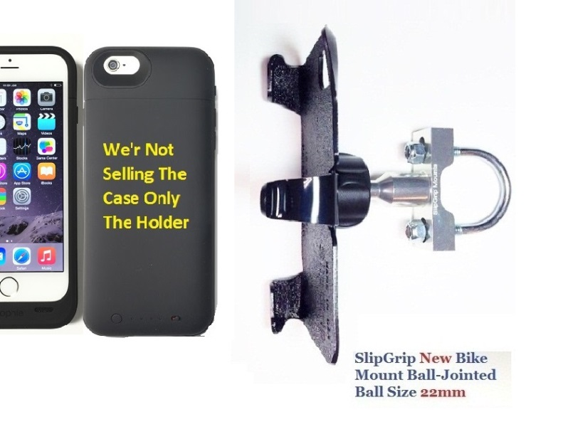 SlipGrip U-Bolt Bike Holder For Apple iPhone 8 Using Mophie Juice Pack Plus Case