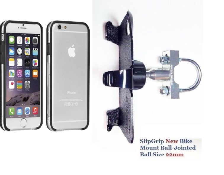 SlipGrip U-Bolt Bike Holder For Apple iPhone 8 Using Case-Mate Tough Frame Bumper Case