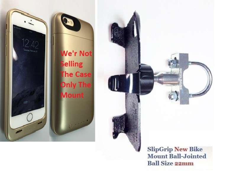 SlipGrip U-Bolt Bike Holder For Apple iPhone 8 Using Mophie Juice Pack Ultra Case