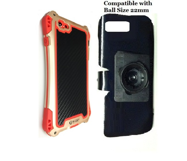 SlipGrip 22mm Ball Holder For Apple iPhone 8 Plus Using Carbon Fiber Aluminum Armor Case