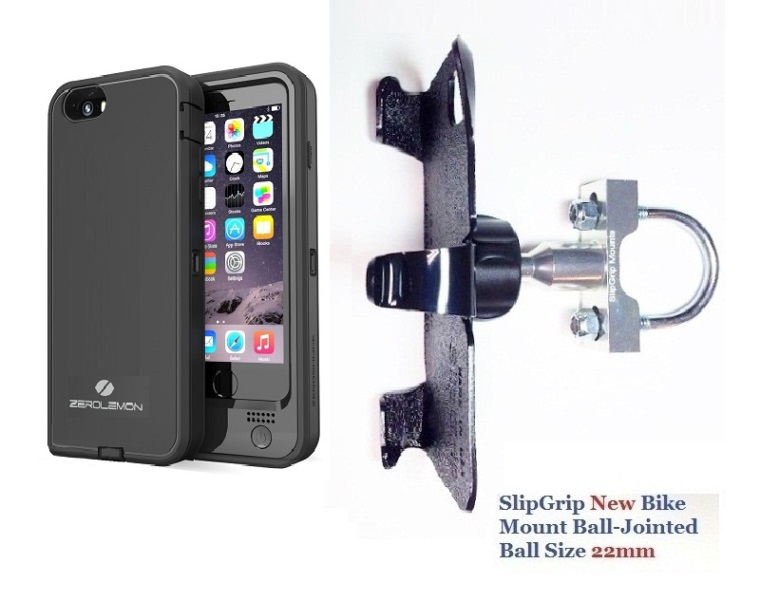 SlipGrip U-Bolt Bike Holder For Apple iPhone 8 Using ZeroLemon 4800mAh Battery Case