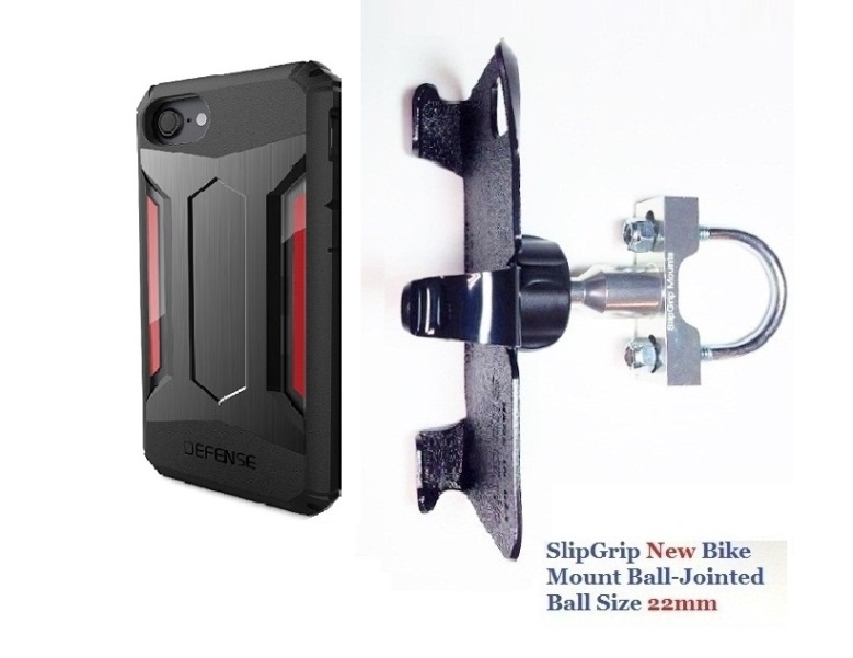 SlipGrip U-Bolt Bike Holder For Apple iPhone 8 Using X-Doria Defense Gear Case