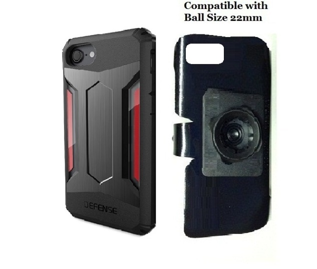 SlipGrip 22mm Ball Holder For Apple iPhone 8 Using X-Doria Defense Gear Case