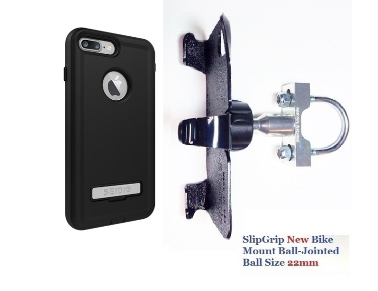 SlipGrip U-Bolt Bike Holder For Apple iPhone 8 Plus Using Seidio Convert Case