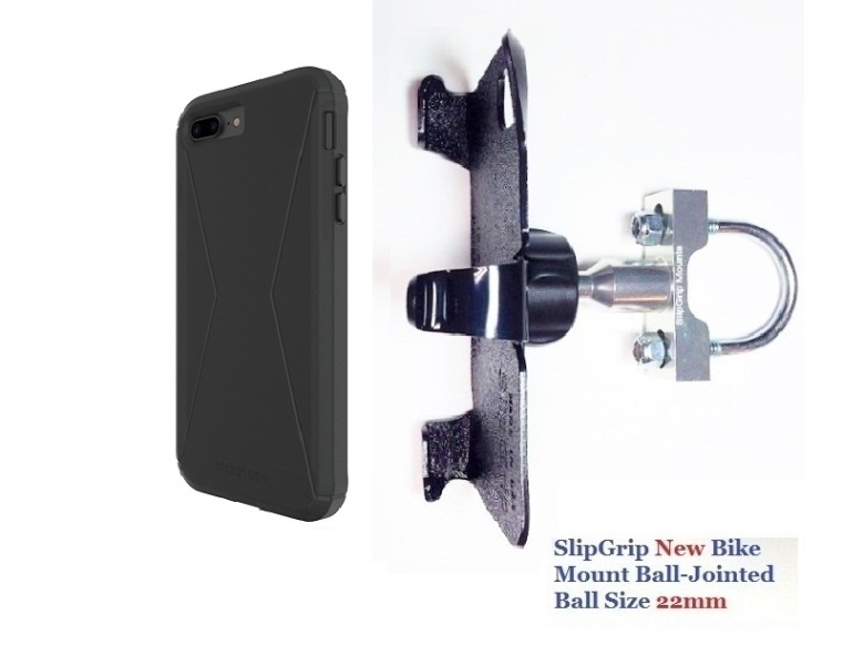 SlipGrip U-Bolt Bike Holder For Apple iPhone 8 Plus Using Tech21 Evo Tactical Extreme Case