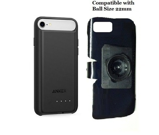 SlipGrip 22mm Ball Holder For Apple iPhone 8 Using Anker Battery Case